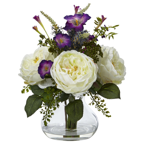Rose and Morning Glory Arrangement with Vase - White