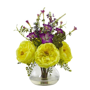 Rose and Morning Glory Arrangement with Vase - Yellow