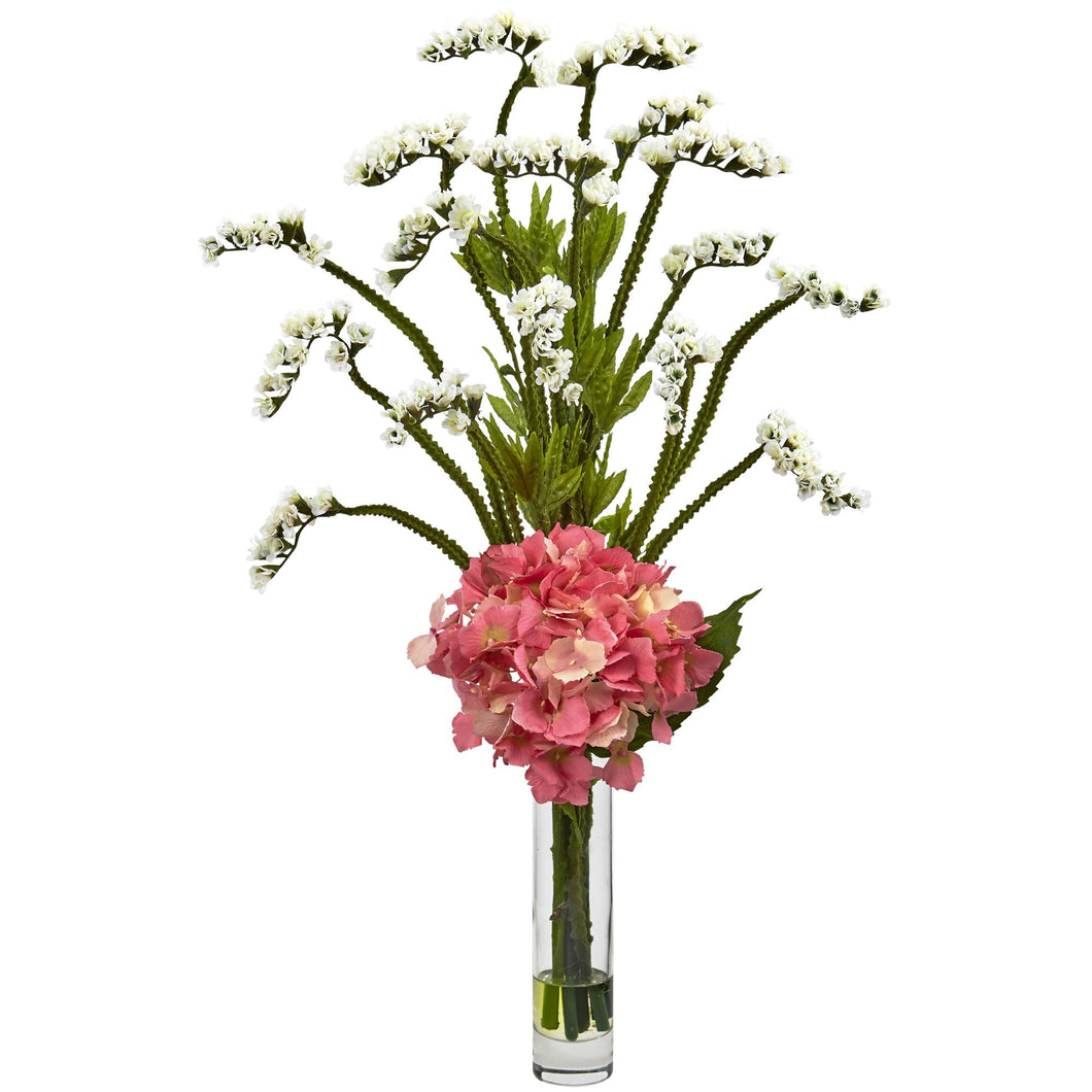 Hydrangea and Statice Bud Arrangement