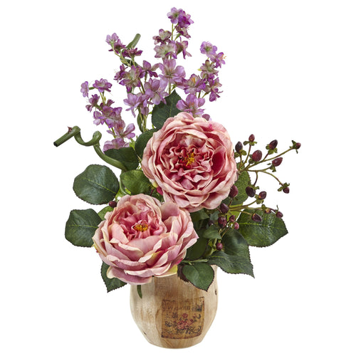 Large Rose and Dancing Daisy in Wooden Pot - Pink