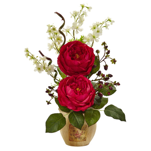 Large Rose and Dancing Daisy in Wooden Pot - Red