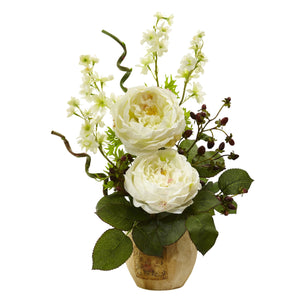 Large Rose and Dancing Daisy in Wooden Pot - White
