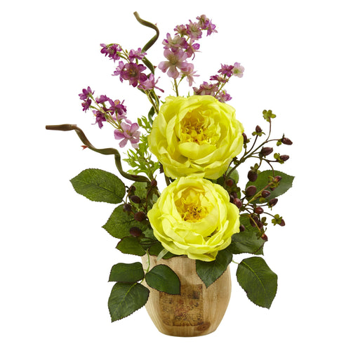Large Rose and Dancing Daisy in Wooden Pot - Yellow