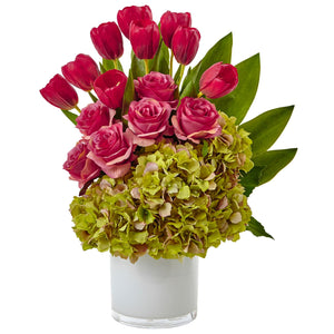 Tulip Rose & Hydrangea Arrangement - Green Pink