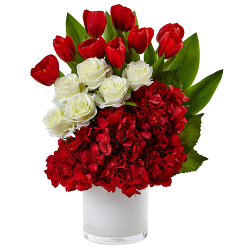 Tulip Rose & Hydrangea Arrangement - Red White