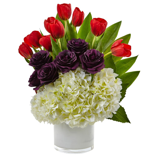 Tulip Rose & Hydrangea Arrangement - White Purple