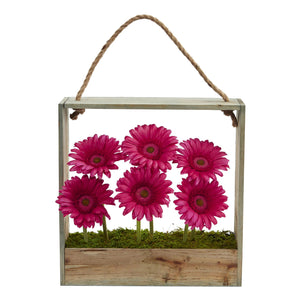 Gerber Daisy Garden Artificial Arrangement in Hanging Frame - Beauty
