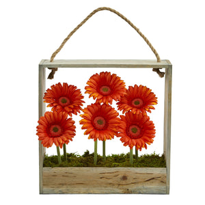 Gerber Daisy Garden Artificial Arrangement in Hanging Frame - Orange