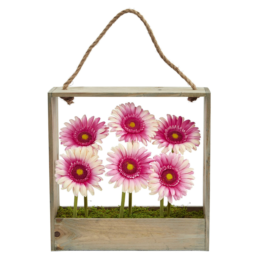 Gerber Daisy Garden Artificial Arrangement in Hanging Frame - Pink
