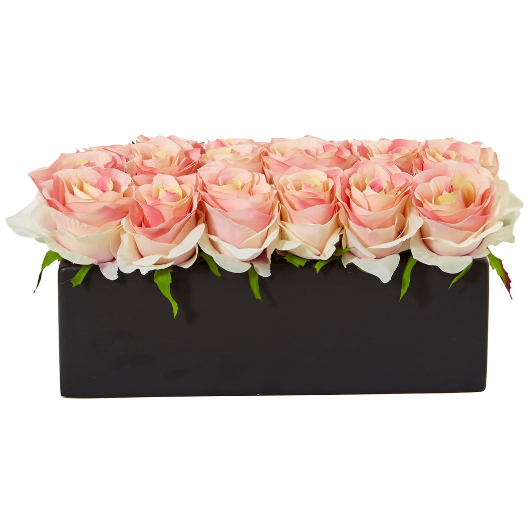 Roses in Rectangular Planter - Light Pink