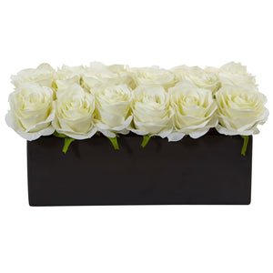 Roses in Rectangular Planter - White