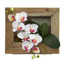 Load image into Gallery viewer, Phalaenopsis Orchid Artificial Arrangement in Wooden Picture Frame - White