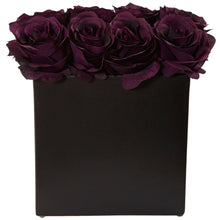 Load image into Gallery viewer, Roses Arrangement in Black Vase - Purple Elegance
