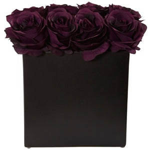 Roses Arrangement in Black Vase - Purple Elegance