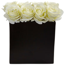 Load image into Gallery viewer, Roses Arrangement in Black Vase - White