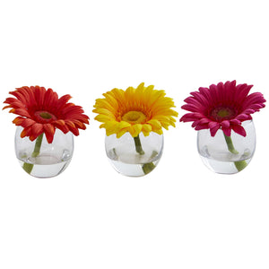 Gerbera Daisy Artificial Arrangement in Glass Vase (Set of 3)