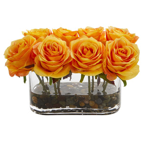 "5.5"" Blooming Roses in Glass Vase Artificial Arrangement - Orange Yellow"