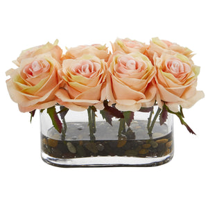 "5.5"" Blooming Roses in Glass Vase Artificial Arrangement - Peach"