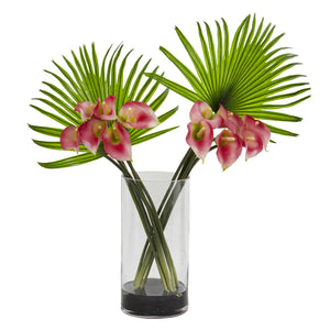 Calla Lily and Fan Palm Artificial Arrangement in Cylinder Glass - Pink
