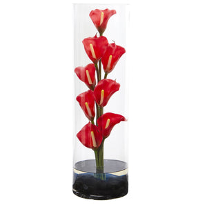 "20"" Calla Lily Artificial Arrangement in Cylinder Glass - Red"
