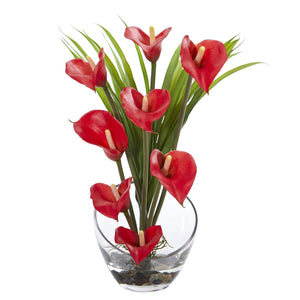 "15.5"" Calla Lily and Grass Artificial Arrangement in Vase - Red"