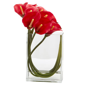 12'' Calla Lily in Rectangular Glass Vase Artificial Arrangement - Red