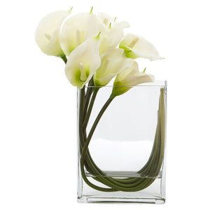 12'' Calla Lily in Rectangular Glass Vase Artificial Arrangement - White