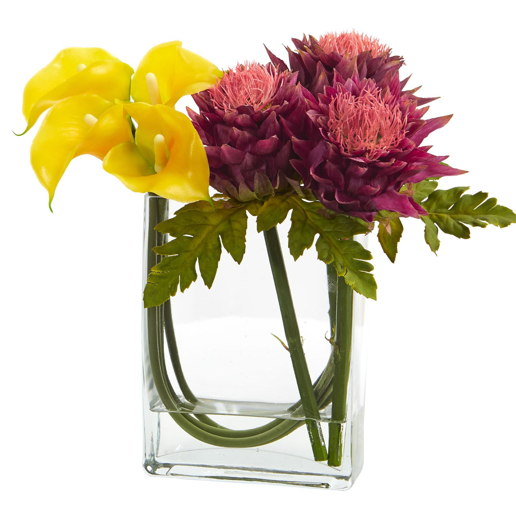 12'' Calla Lily and Artichoke in Rectangular Glass Vase Artificial Arrangement - Yellow Mauve