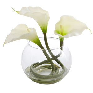 9'' Calla Lily Artificial Arrangement in Rounded Glass Vase - White