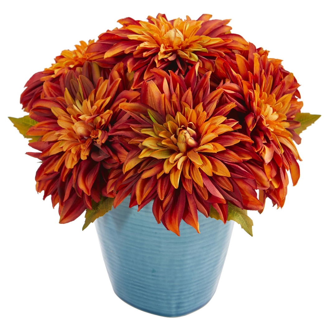 11'' Dahlia Artificial Arrangement in Blue Ceramic Vase - Orange