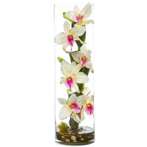 20'' Cattleya Orchid Artificial Floral Arrangement in Cylinder Vase - White