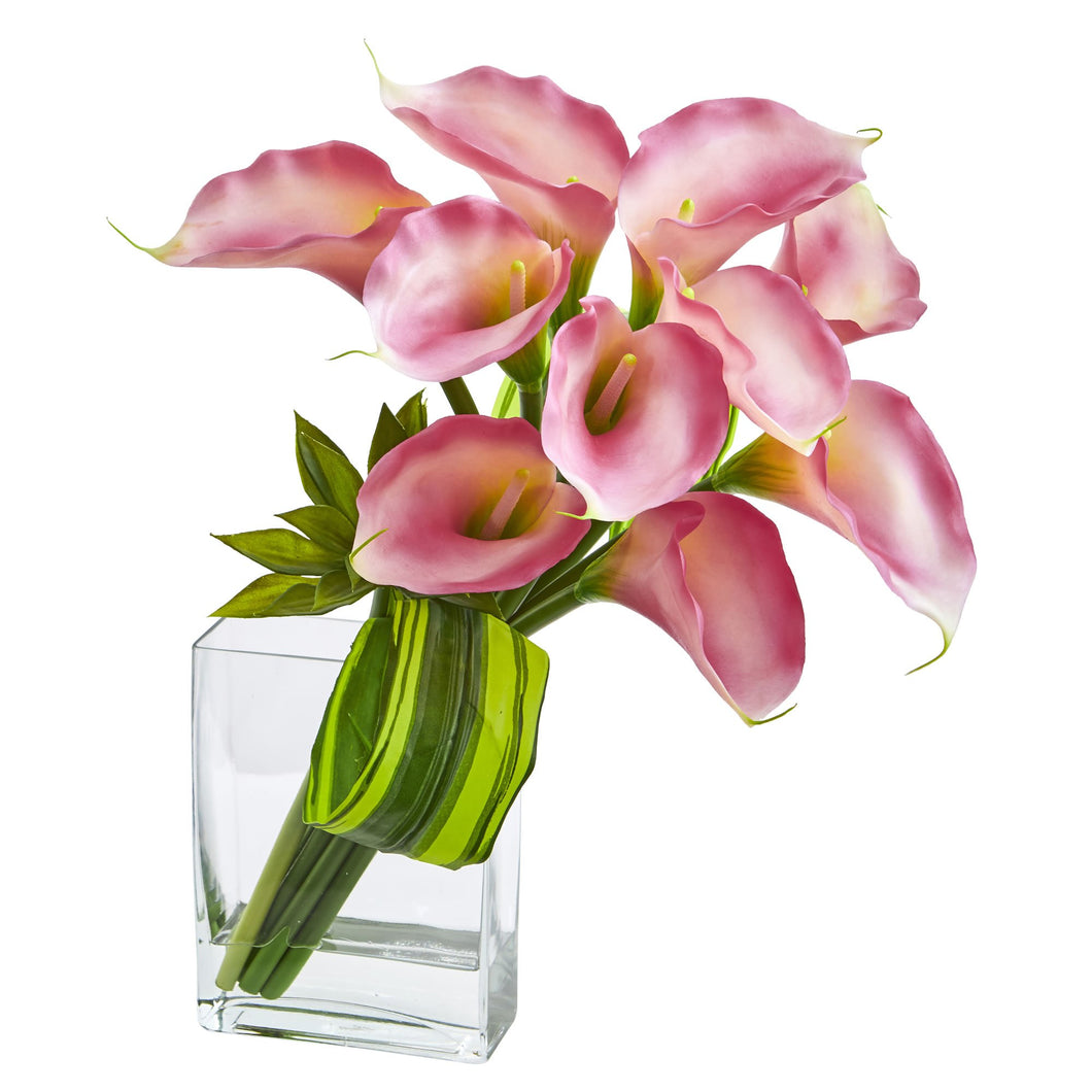 20'' Calla Lily & Succulent Bouquet Artificial Arrangement - Pink
