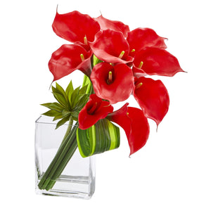 20'' Calla Lily & Succulent Bouquet Artificial Arrangement - Red
