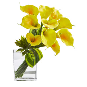 20'' Calla Lily & Succulent Bouquet Artificial Arrangement - Yellow