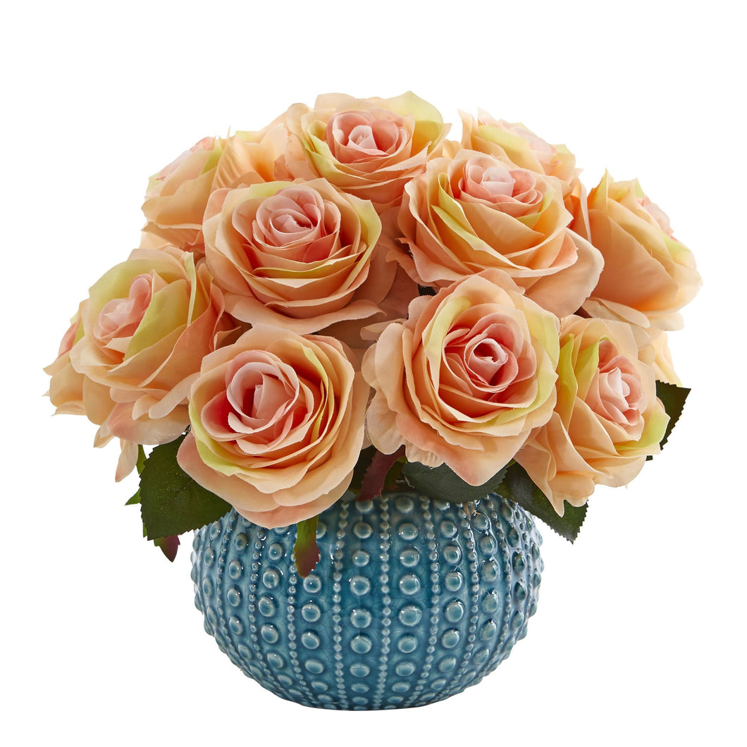 11.5'' Rose Artificial Arrangement in Blue Ceramic Vase - Peach
