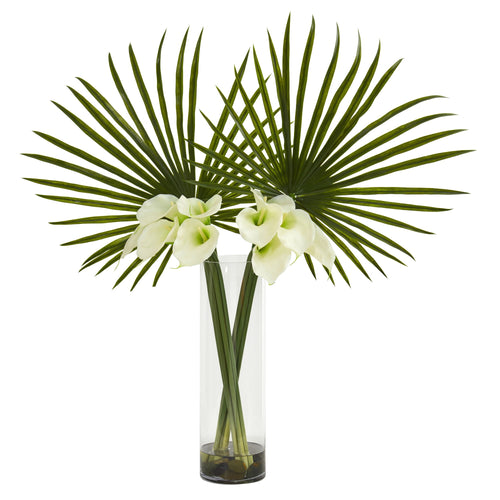 Fan Palm and Calla Lily Artificial Arrangement - Cream