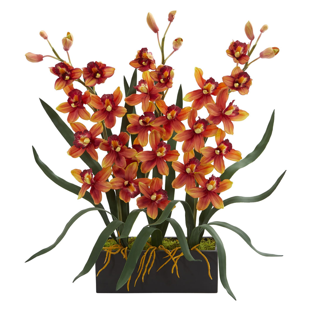 Cymbidium Orchid Artificial Arrangement in Black Vase - Burgundy