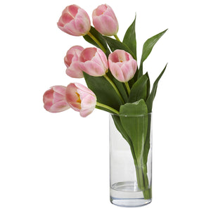 Tulip Artificial Arrangement in Cylinder Vase - Pink
