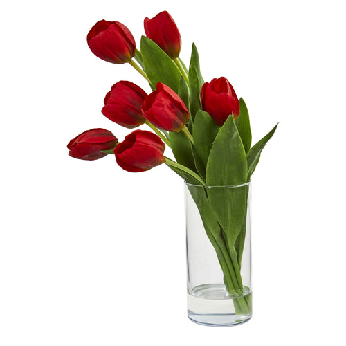Tulip Artificial Arrangement in Cylinder Vase - Red