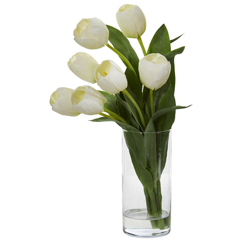 Tulip Artificial Arrangement in Cylinder Vase - White