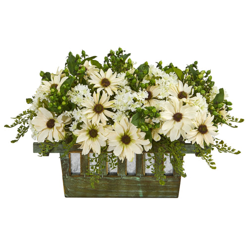 Daisy Artificial Arrangement in Decorative Planter