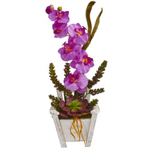 Load image into Gallery viewer, Phalaenopsis Orchid & Succulent Artificial Arrangement in Chair Planter - Orchid