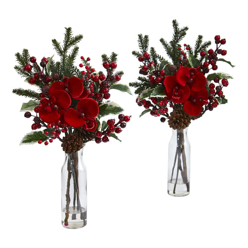 Holly Berry and Orchid Artificial Arrangement in Vase (Set of 2)
