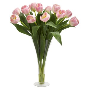 Tulips Artificial Arrangement in Flared Vase - Pink
