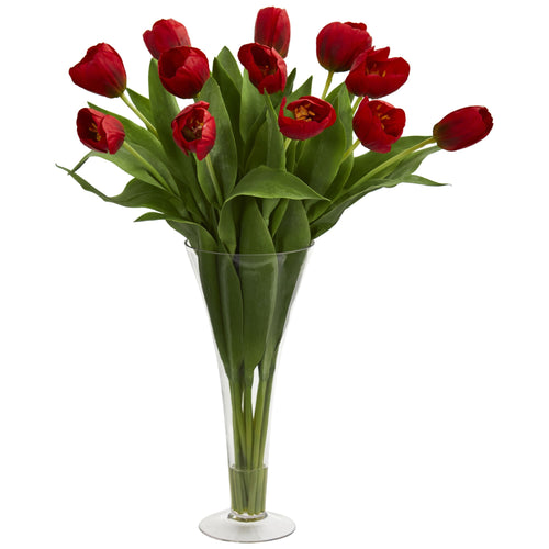 Tulips Artificial Arrangement in Flared Vase - Red