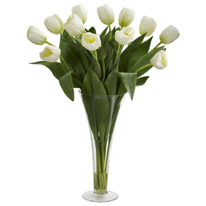 Tulips Artificial Arrangement in Flared Vase - White