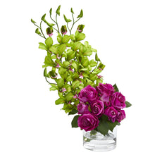 Load image into Gallery viewer, Rose & Dendrobium Orchid Artificial Arrangement - Green Pink