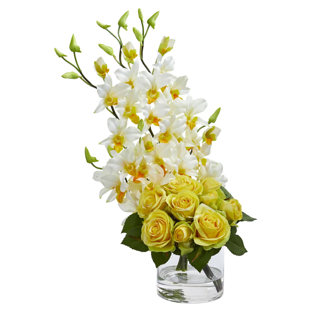 Rose & Dendrobium Orchid Artificial Arrangement - Yellow Cream