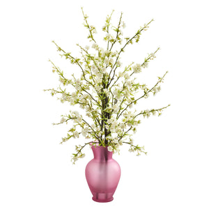 Cherry Blossom Artificial Arrangement in Rose Vase - White