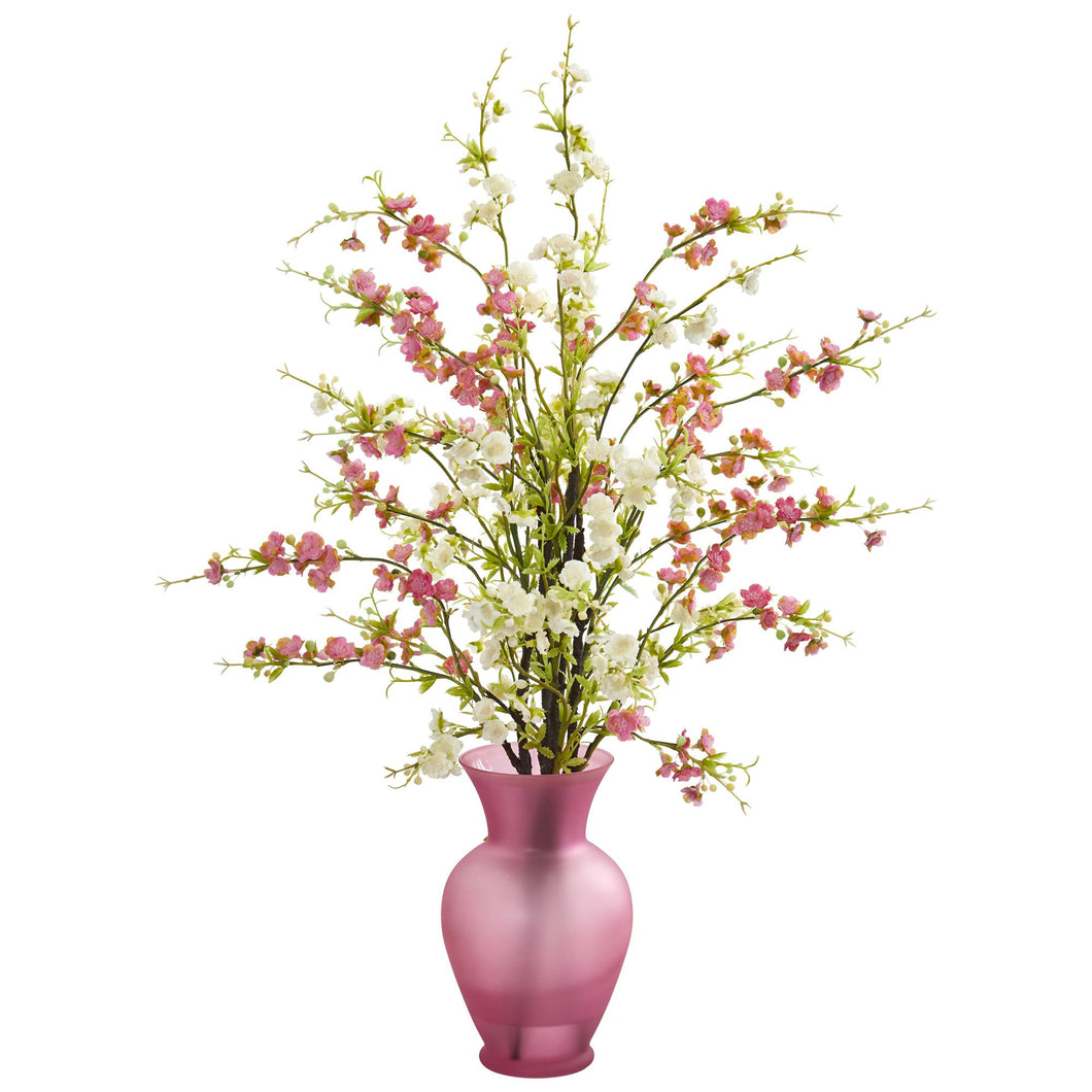 Cherry Blossom Artificial Arrangement in Rose Vase - White Pink